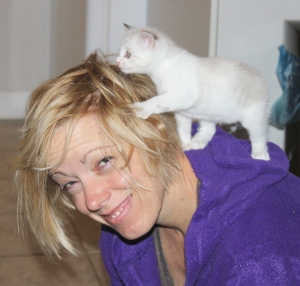 Kristene Perron with SPCA kitten