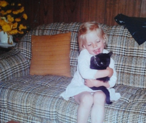 Kristene Perron with her cat Tinker