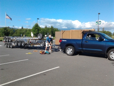 Fred Perron picks up boat trailers
