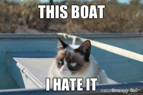 Emily as Grumpy Cat on a boat
