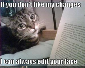 Cat editing manuscript
