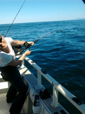 Strong women fishing