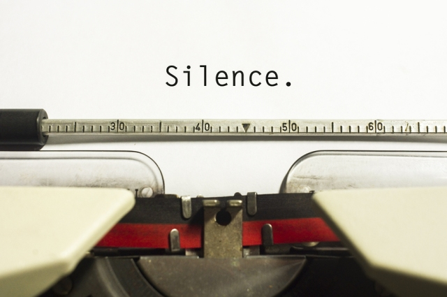 Silence typed on a page