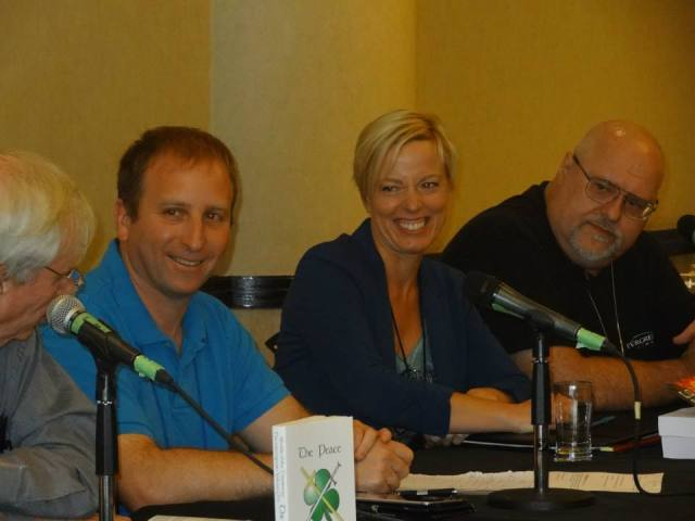 Kristene Perron on the VCON panel with David Weber and Ron Friedman