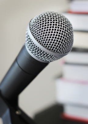 Microphone in front of books