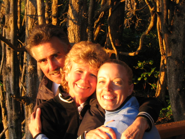 Pat and Joyce Roney with Kristene Perron at sunset