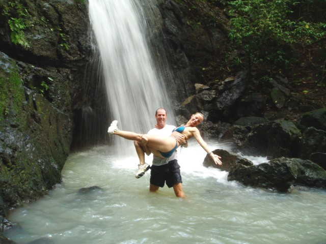 Fred and Kristene Perron in a waterfall