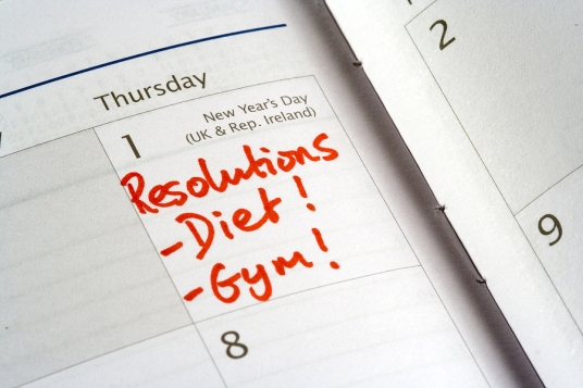 diary showing new years day and list of resolutions