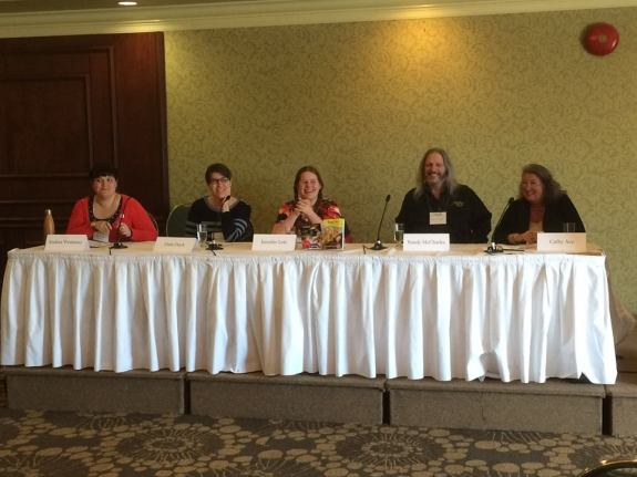 2015 Creative Ink Festival Panel (L to R) Andrea Westaway, Dani Duck, Jennifer Lott, Randy McCharles, Cathy Ace
